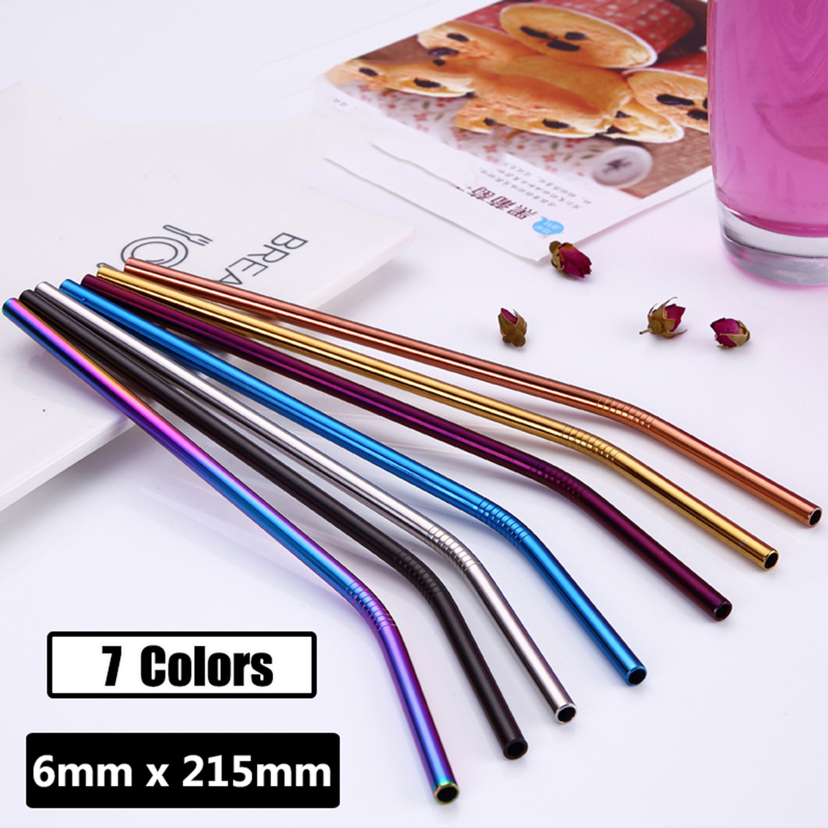 7 Colors 215x6mm Reusable Drinking Stainless Steel Metal Straw Supplies for Party Club Cafe