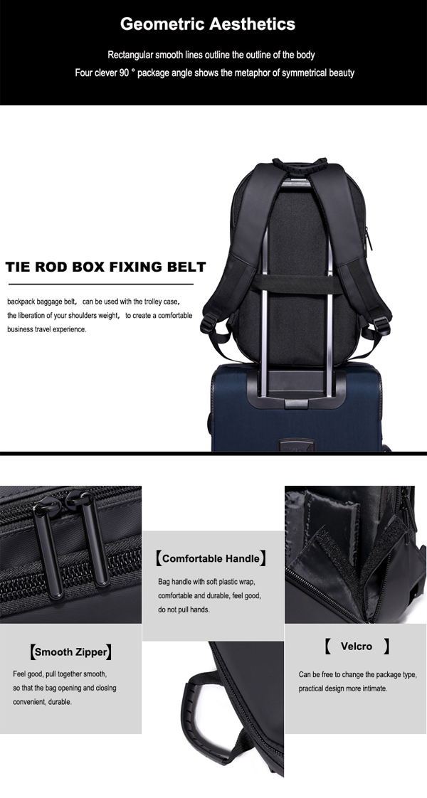 Men Black Hard Shell Backpack Anti Theft Laptop Backpack