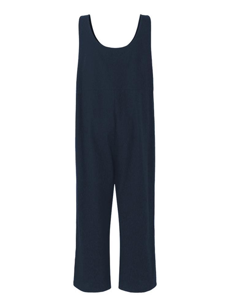 Plus Size Vintage Women Cotton Jumpsuits