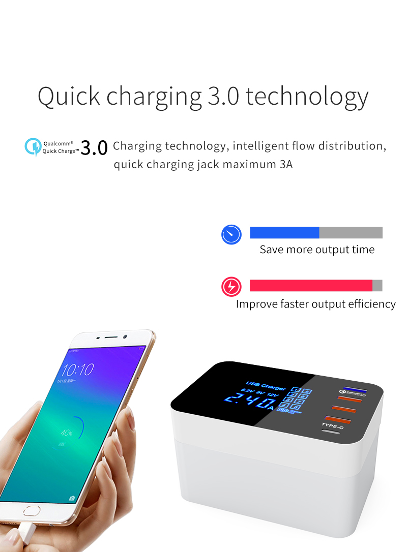 Bakeey Foldable Design Quick Charge 3.0 4 USB Type-C USB EU Charger Station HUB with Led Display