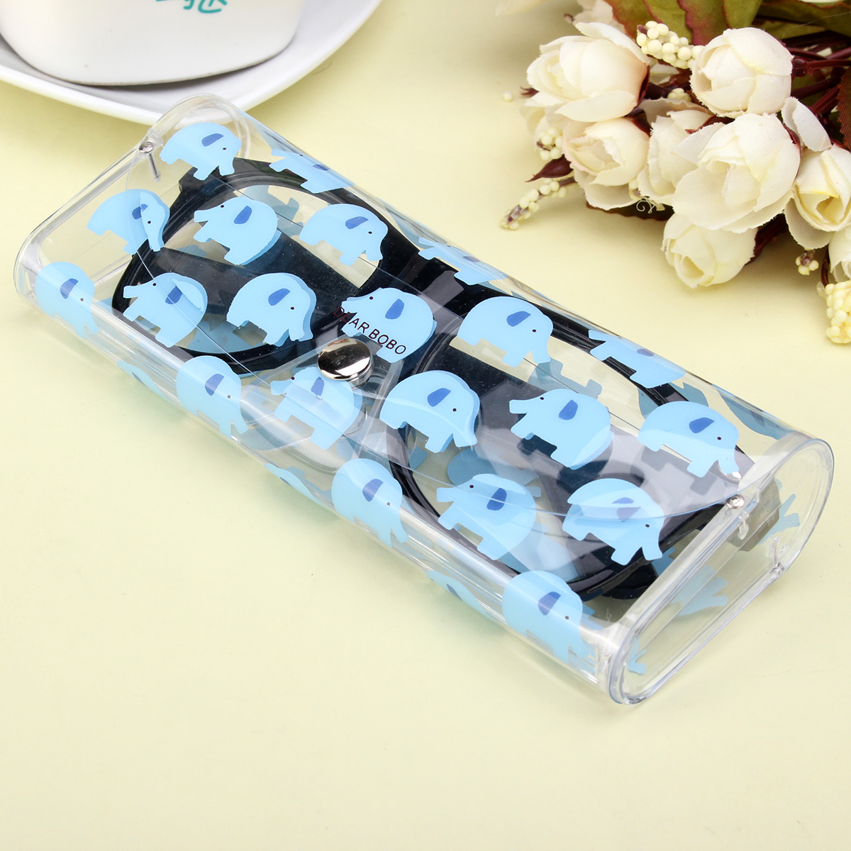 PVC Cartoon Pet Patten Transparent Glasses Sunglass Storage Spectacle Case