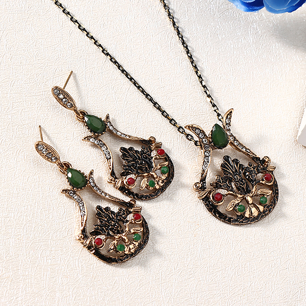 Retro Women Statement Zirconia Multicolor Jewelry Set