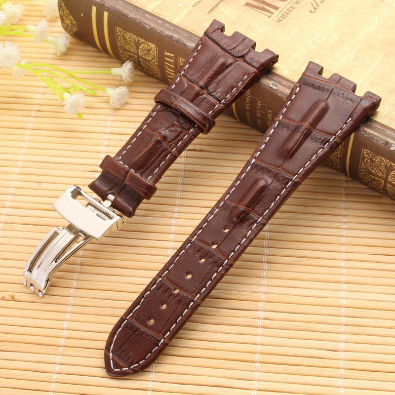 28mm Brown White Line Soft Leather Watch Band