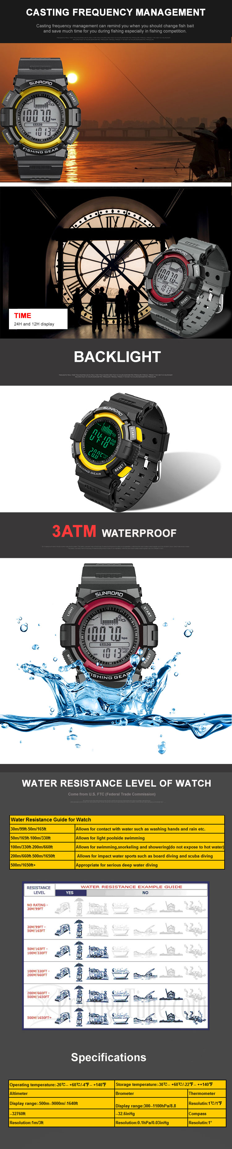 SUNROAD Fishing Barometer Watch FR711A FR712A FR713A FR715A Multifunction Waterproof Altimeter