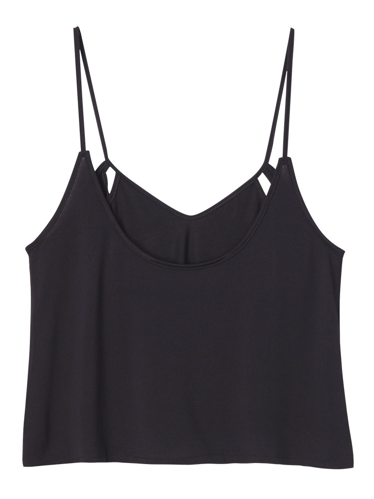 Sexy Women Hollow out Black Balkless V-neck Backless Tank Tops Vest