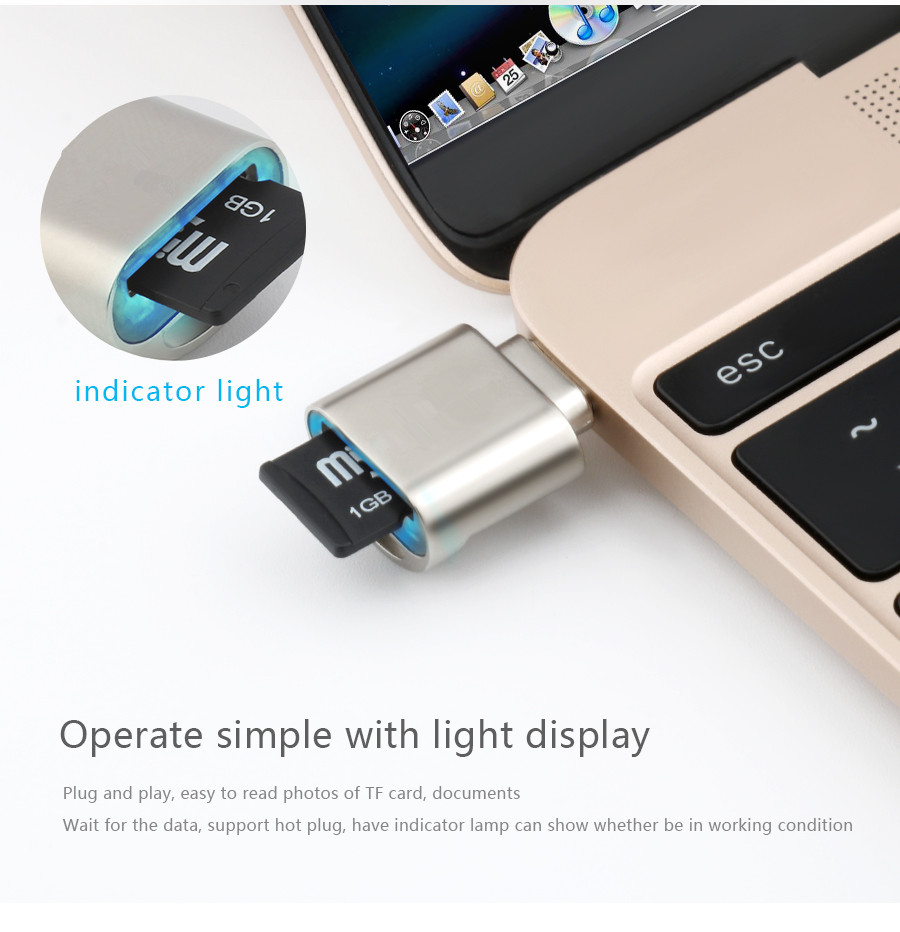 Mini Type-C USB 3.1 Aluminum Alloy Card Reader for Macbook Phone Tablet