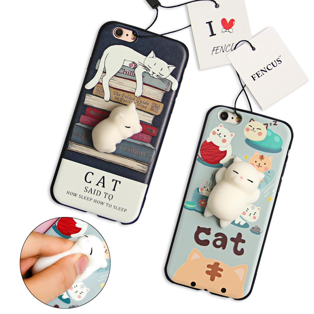Bakeey Cartoon 3d Squishy Squeeze Slow Rising Soft Kucing Pemalas Pc Case For Iphone 6