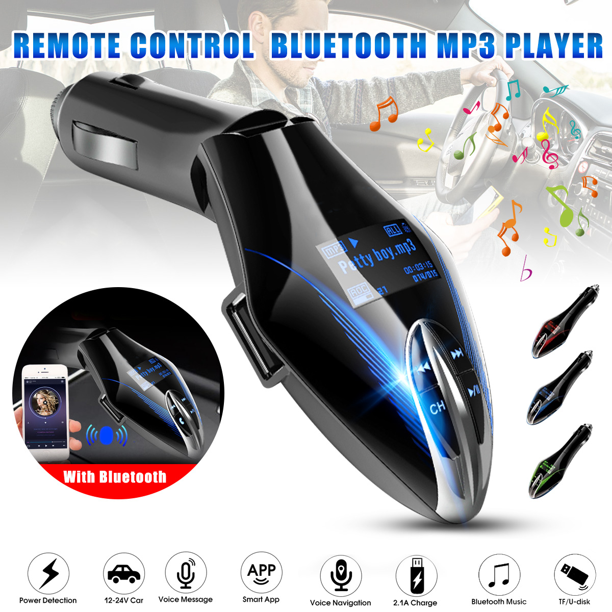 Car LED Wireless AUX bluetooth FM Transmitter Mp3 Player Charger TF/GPS w/Remote
