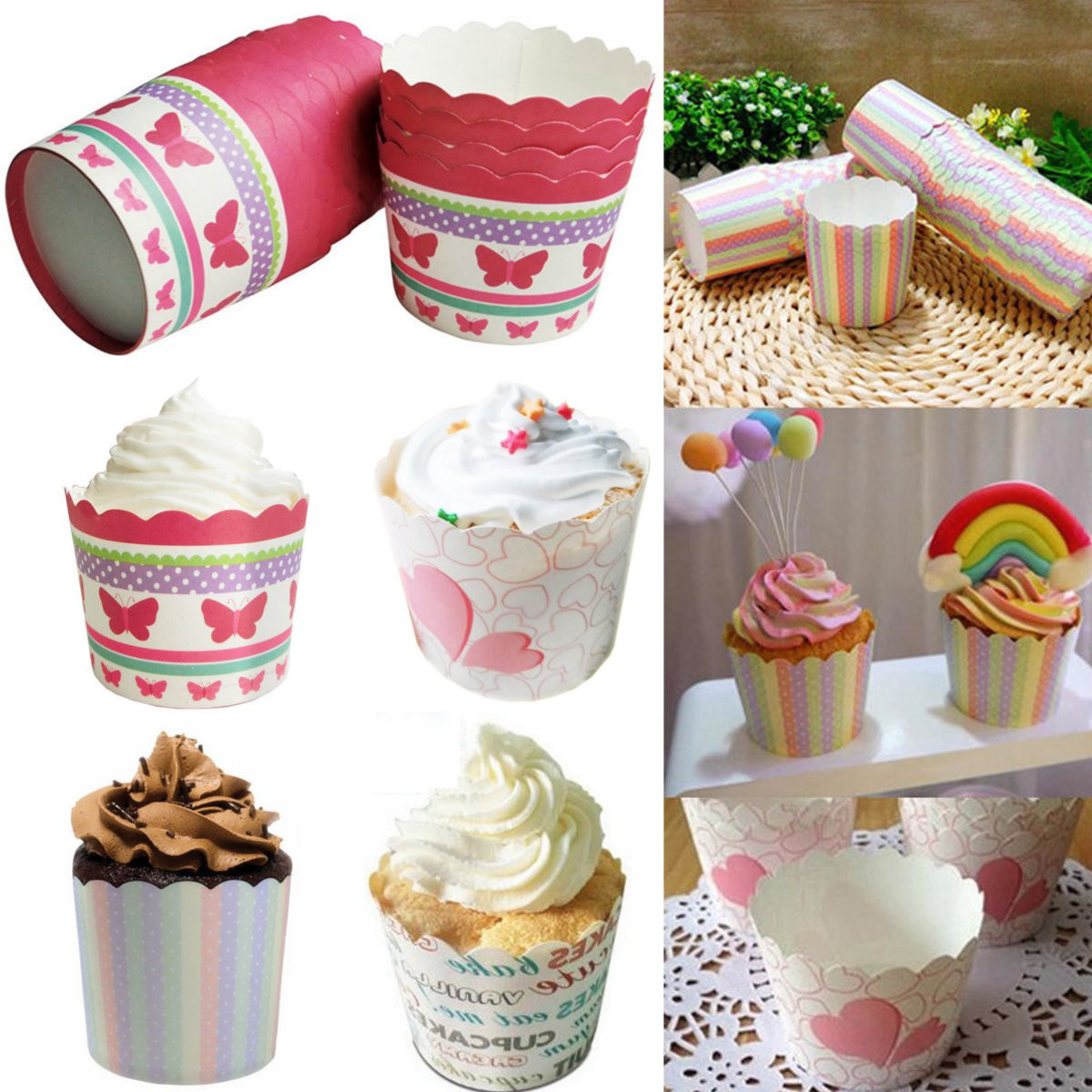 50pcs Mini Paper Baking Cup Liners Muffin Cup Cake Cases Wrapper Home Party Decor
