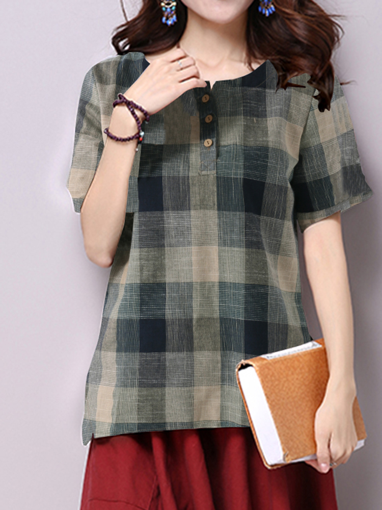 Casual Women Plaid O-Neck Blouse