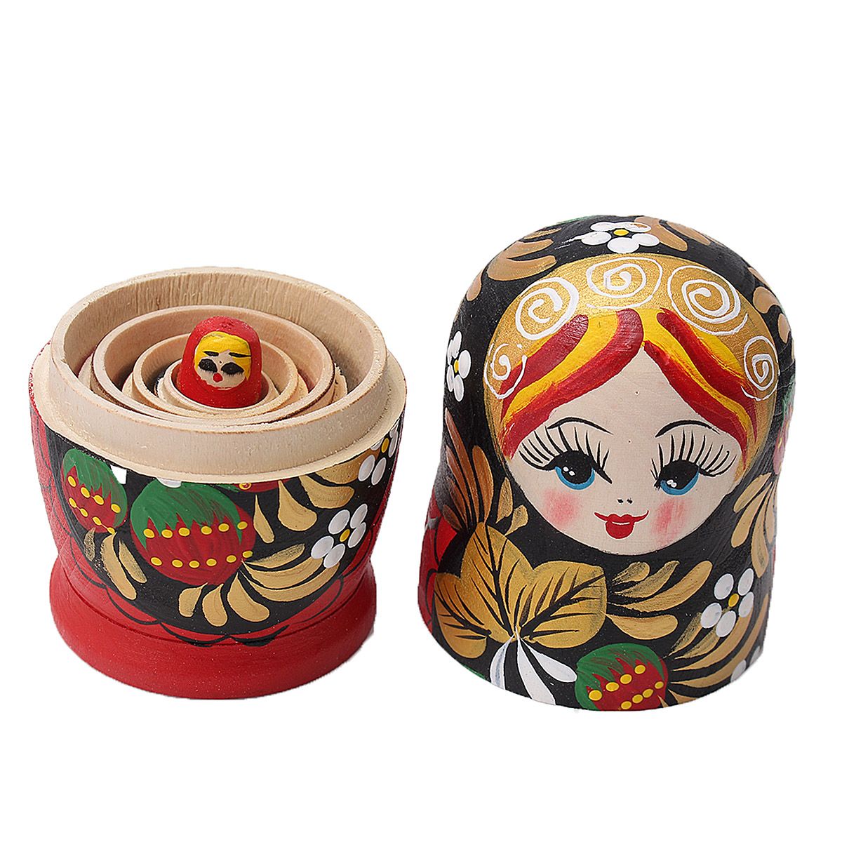 5PCS/Set Wooden Doll Matryoshka Nesting Russian Babushka Toy Gift Decor Collection