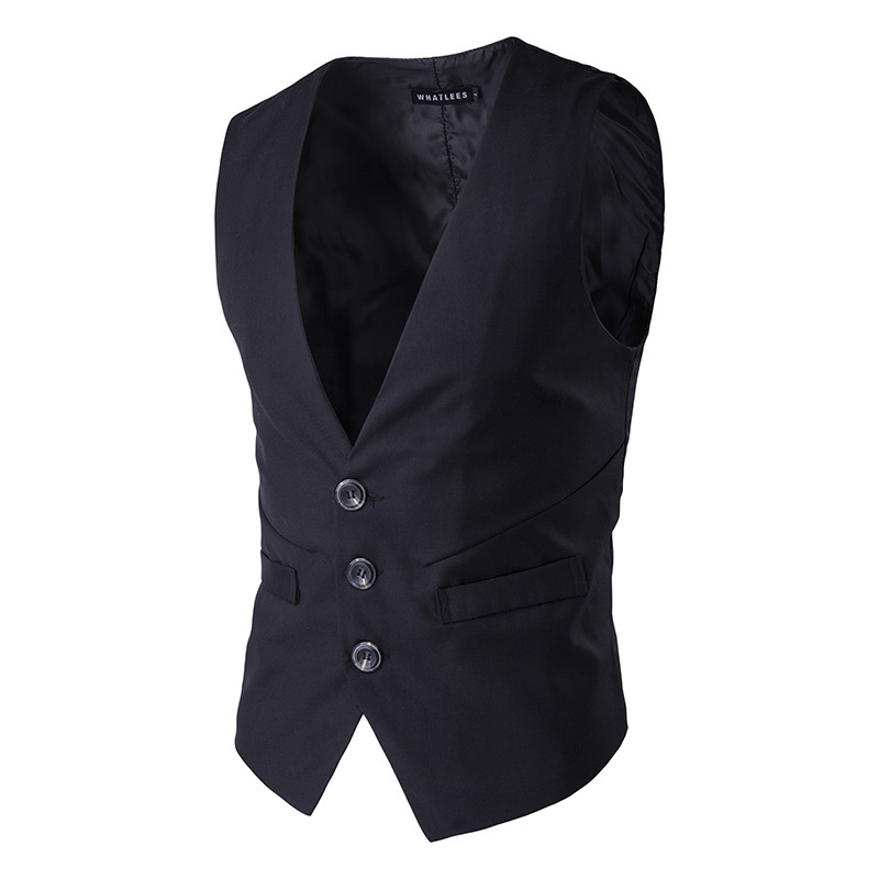 Mens Three Buttons Business Slim Fit Solid Color Casual Vest