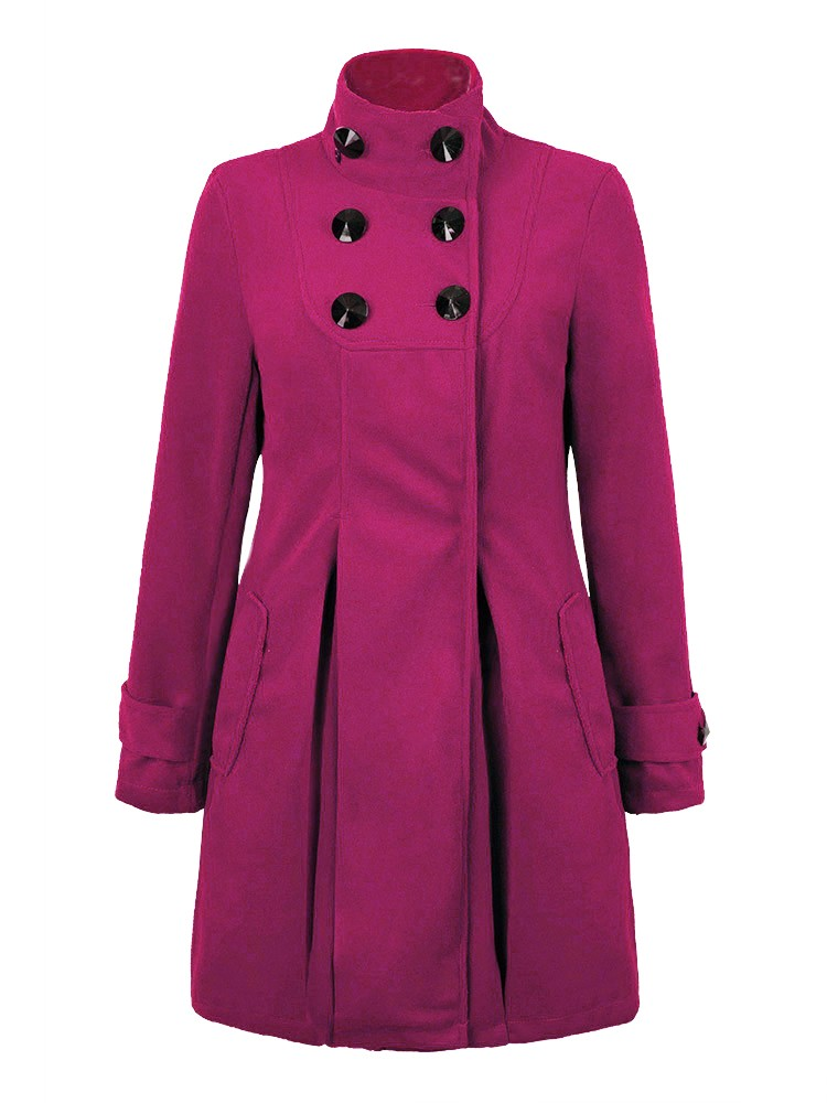Woollen Hooded Coat Double Breasted Pure Color Wool Overcoat