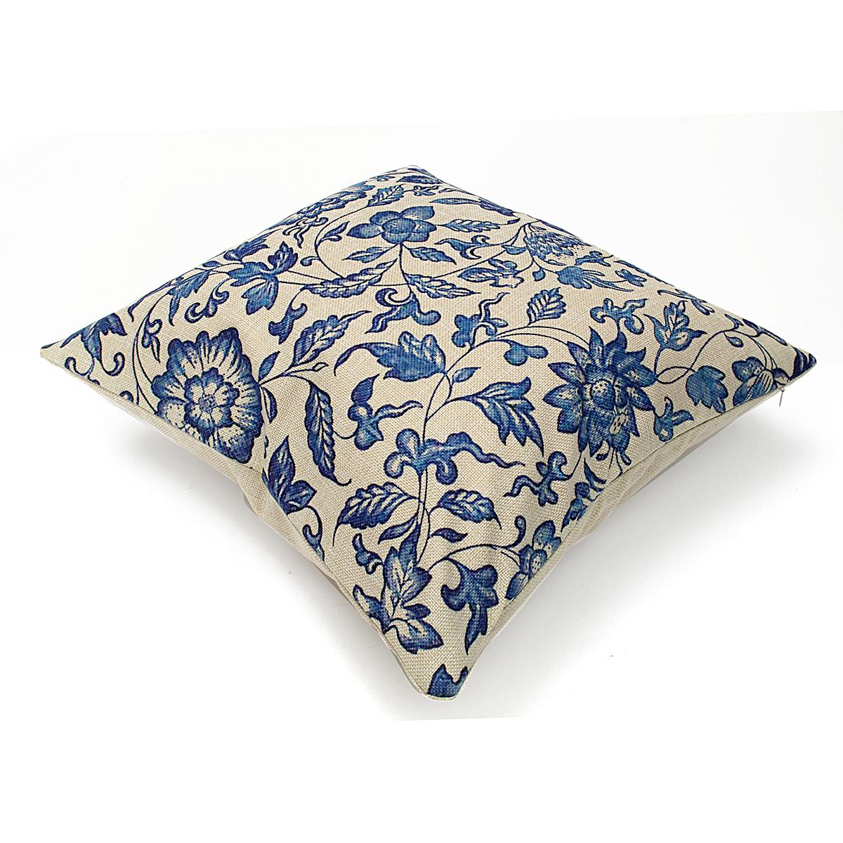45x45cm Vintage Oriental Retro Blue Floral Linen Pillow Case Cushion Cover Home Decor