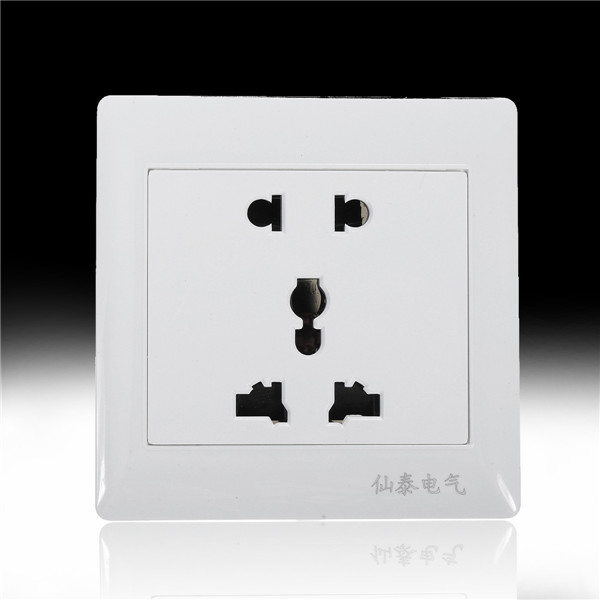 AC 110-250V 10A Dual Port 5-hole Wall Charger Socket Power Outlets Panel