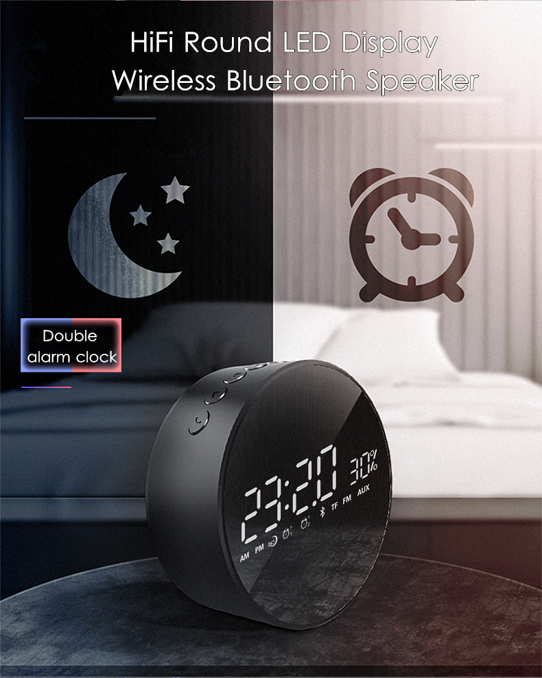 M1 HiFi Round LED Display Mirror Wireless bluetooth Speaker Dual Alarm Clock TF Card Bass Speaker