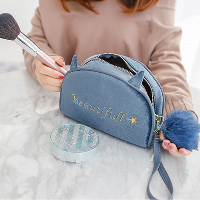 Cosmetic Bag Large Capacity Velvet Travel Portable Wash Bag Simple Storage Bag