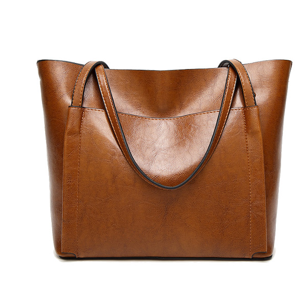 Women Oil Leather Tote Handbags Vintage Shoulder Bags Capacity Crossbody Bags