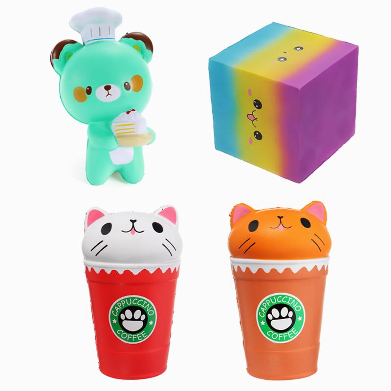 4PCS мультфильм кубок кофе медведь площади торт Squishy медленно растущий пакет игрушек