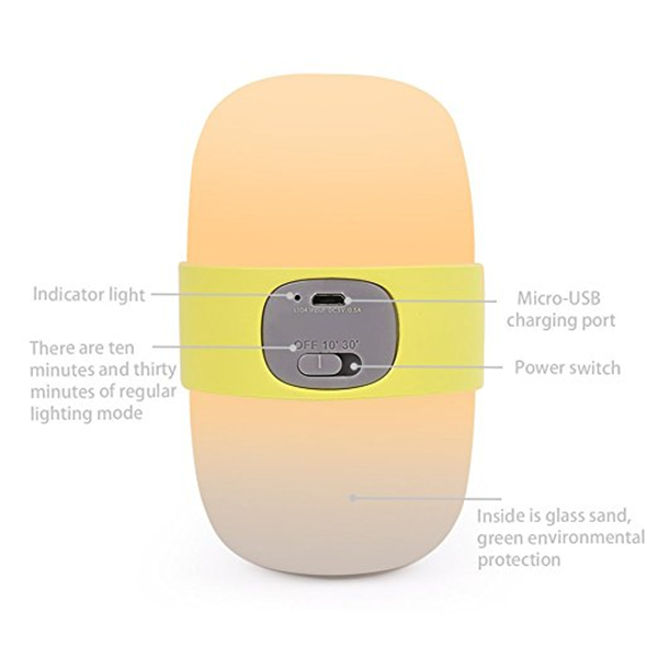 USB Rechargeable Timing Night Light Handheld Sleep Lamp for Baby Kids Nursery Bedside