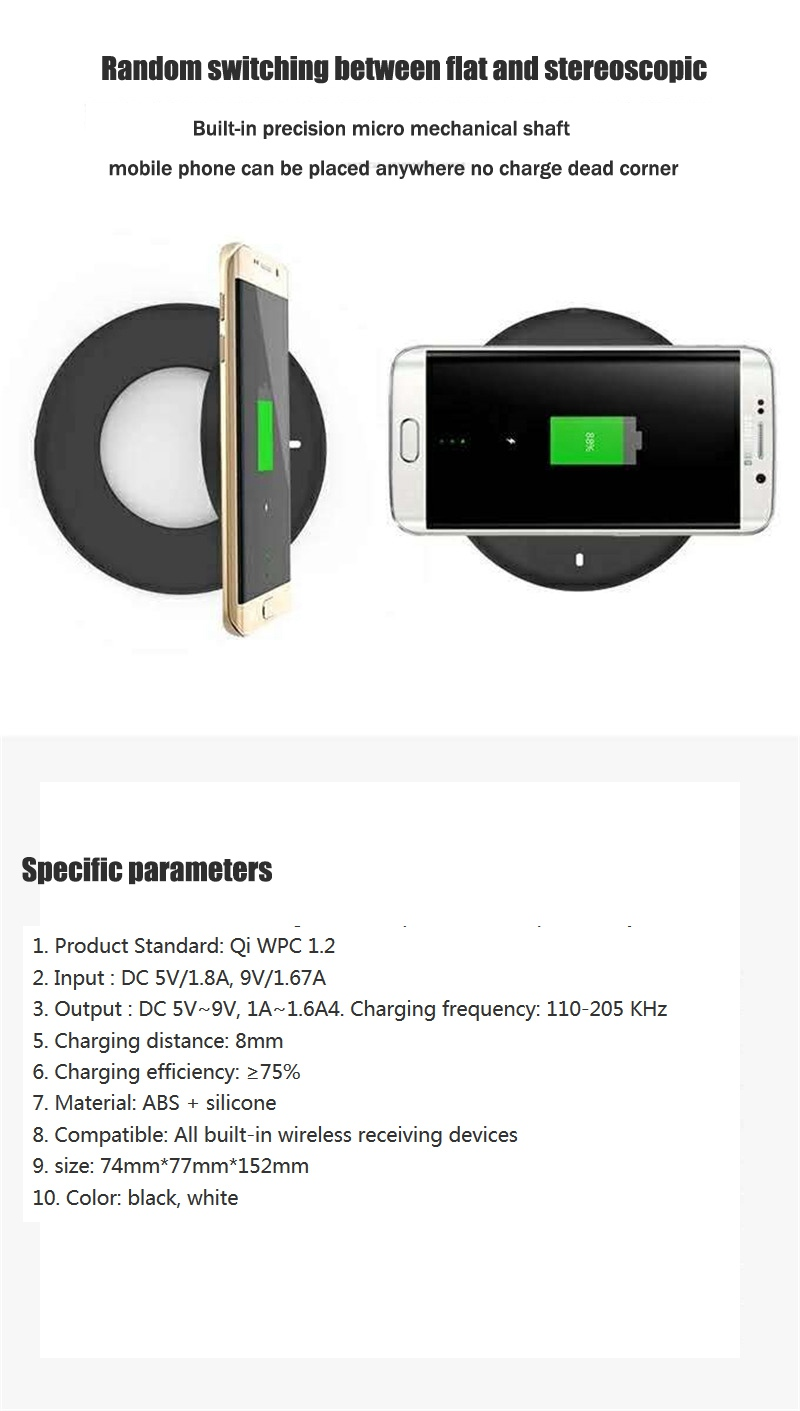 Universal Qi Wireless Charger Vertical Stand Transmitter Wireless Charger for Samsung S9 S8 Note 8