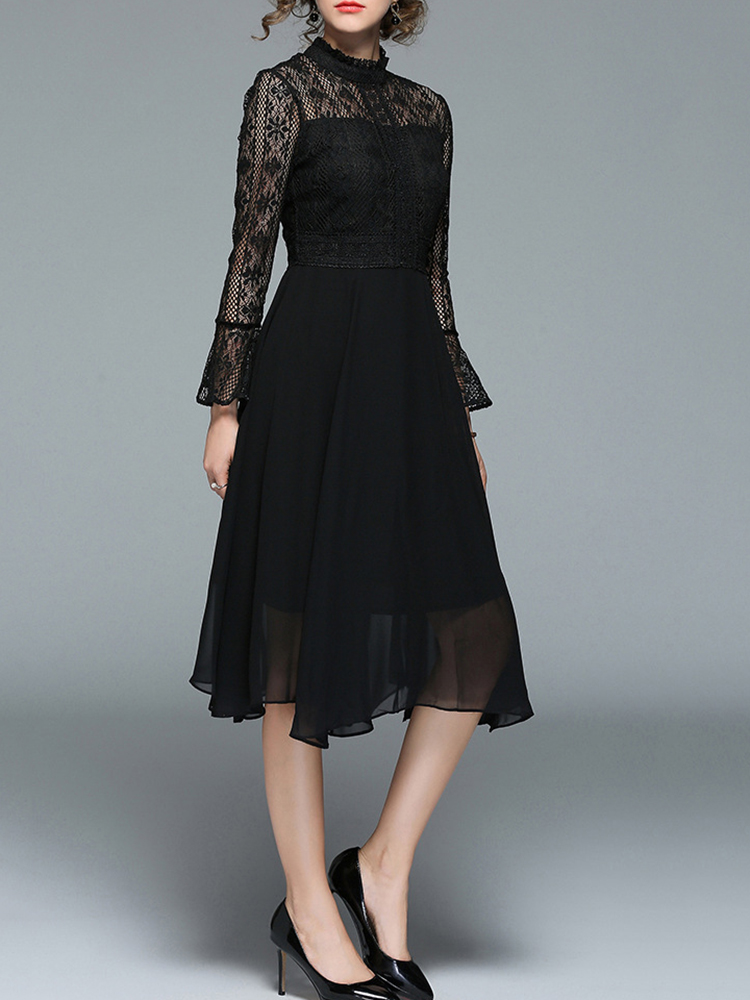 Elegant Women Lace Patchwork Dress