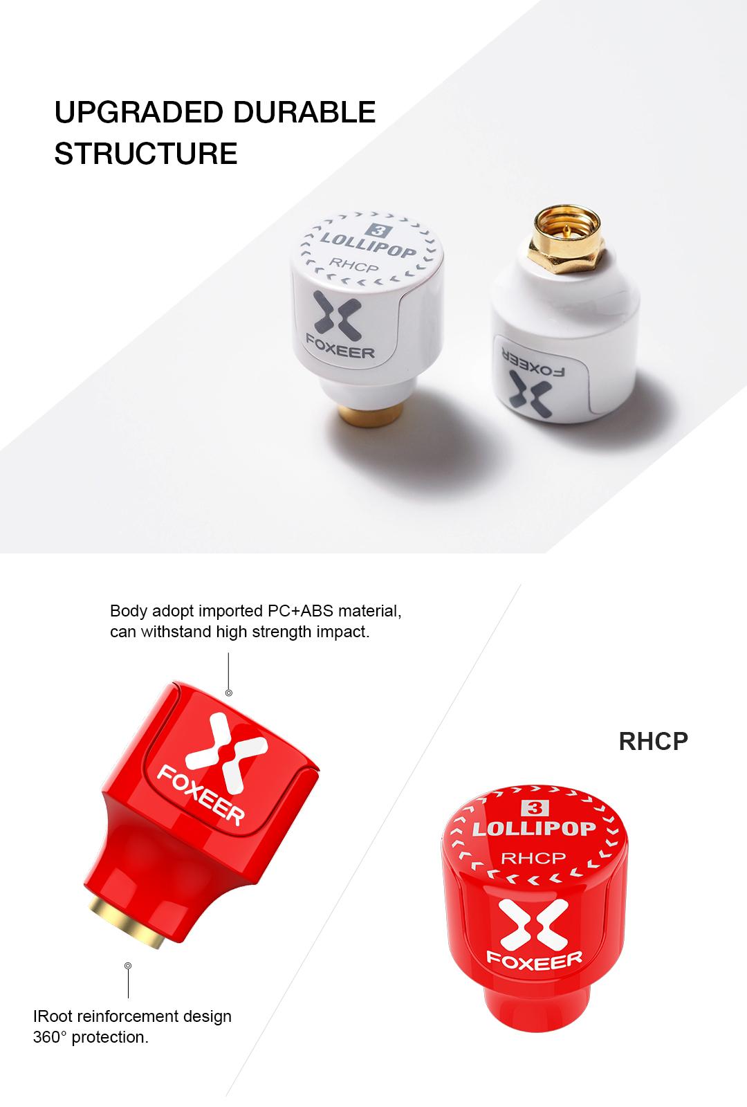 2pcs Foxeer 5.8G Lollipop 3 2.5DBi Stubby Omni FPV Antenna LHCP/RHCP for RC Drone - Photo: 2