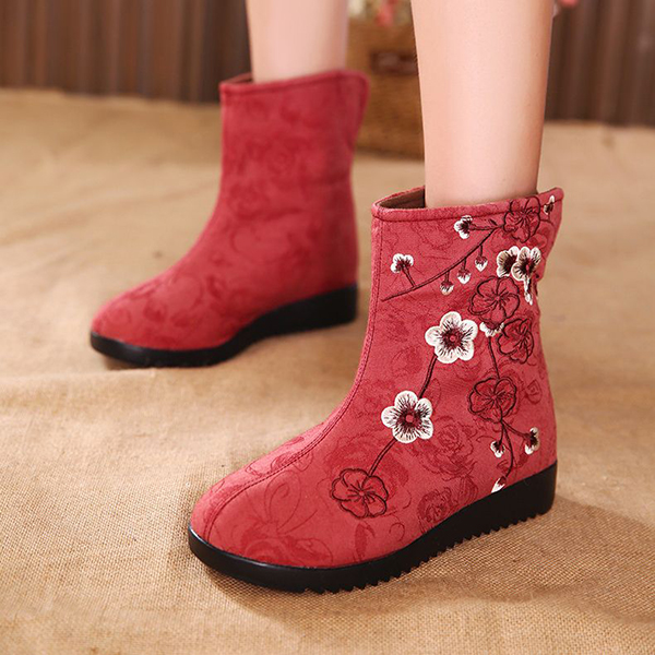 Embroidered Fur Boots High Top Lining Ankle Shoes For Women