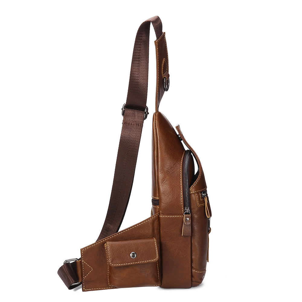 Ekphero Men Genuine Leather Leisure Crossbody Bag Chest Bag