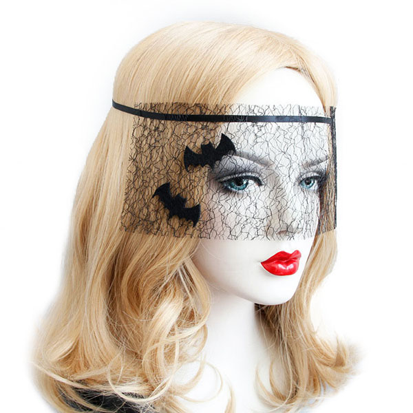 Halloween Costume Black Bat Net Yarn Mask Toys for Masquerade Ball Party