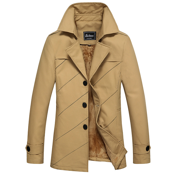 Winter Mens Mid Long Cotton Stylish Jacket Plus Velvet Thick Solid Color Single Breasted Coat