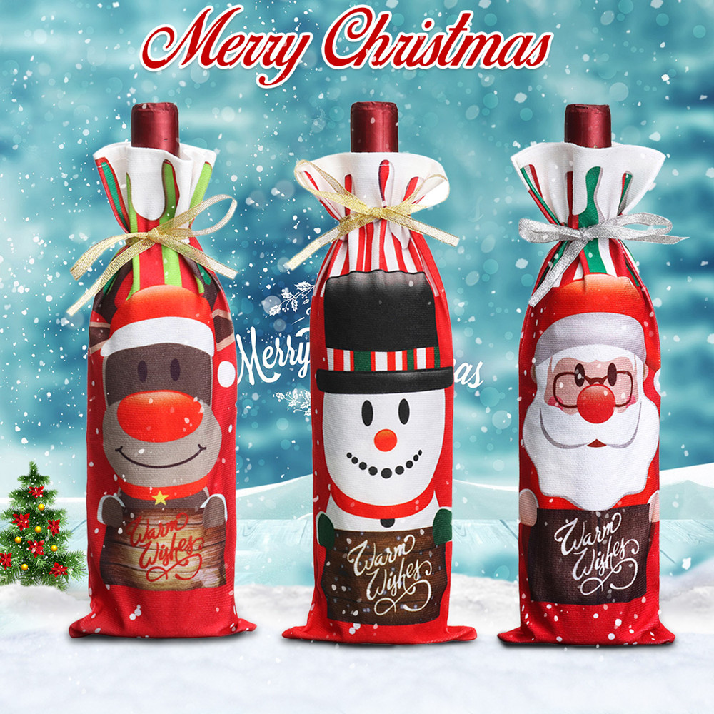 Santa Christmas Candy Bags Wine Stocking Bottle Carrier Gift Christmas Packing Bag Decoration