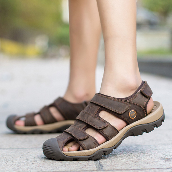 US Size 6.5-11 Men Genuine Leather Outdoor Flat Beach Sandals