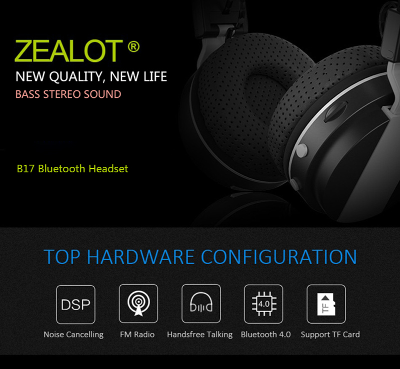 Zealot B17 Noise Cancelling Foldable Wireless bluetooth Stereo Bass Headphone with Tf Card Slot