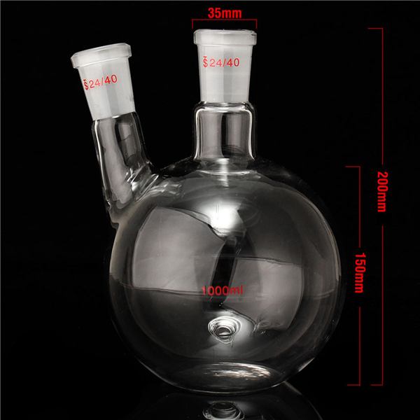 1000ml 2 Neck 24/40 Flat Bottom Glass Flask Laboratory Boiling Bottle
