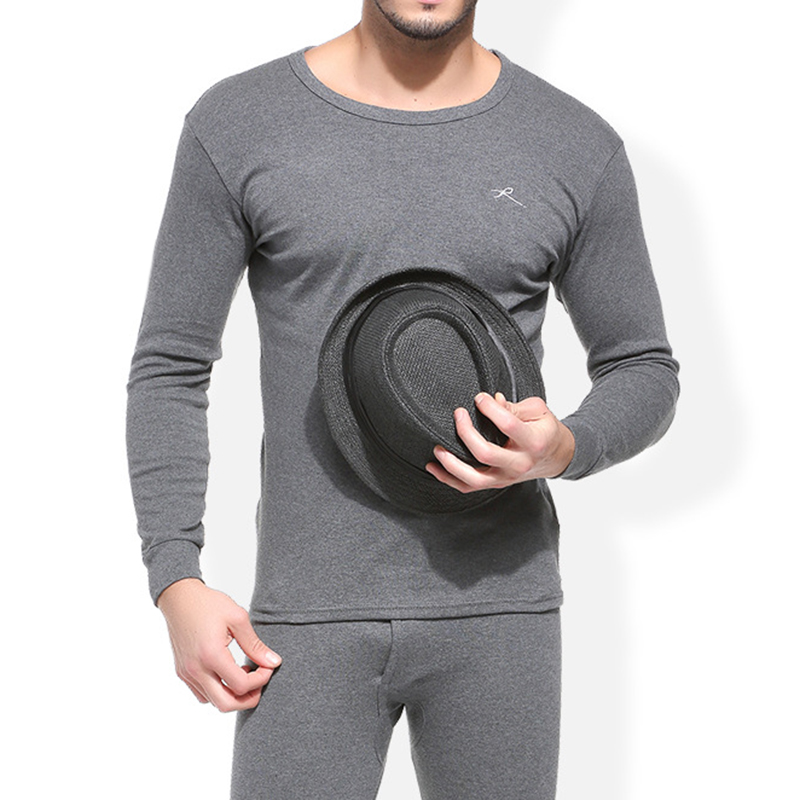 Mens Fall Cotton Soft Warm Thermal Underwear Long Johns Set