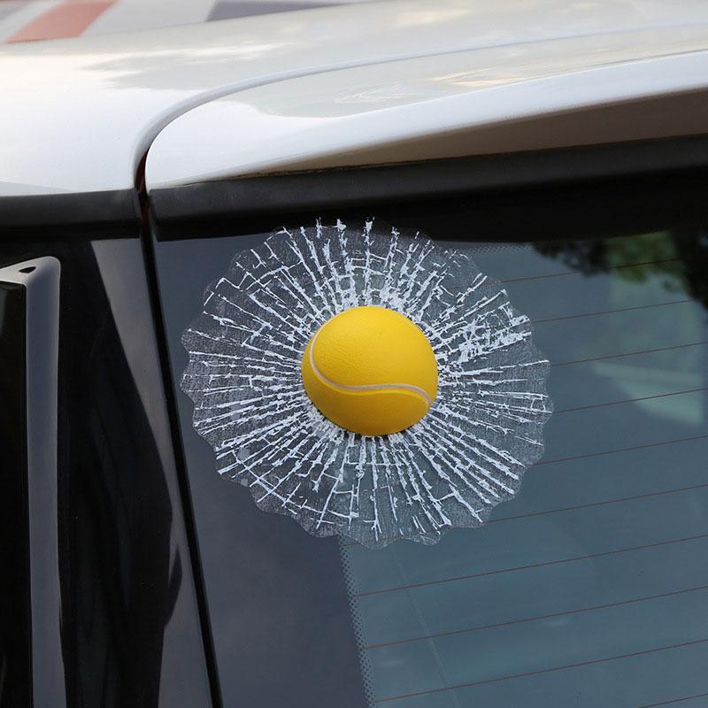 Creative Waterproof PVC 3D Car Window Stickers Tennis Ball Hits Car Body Decal