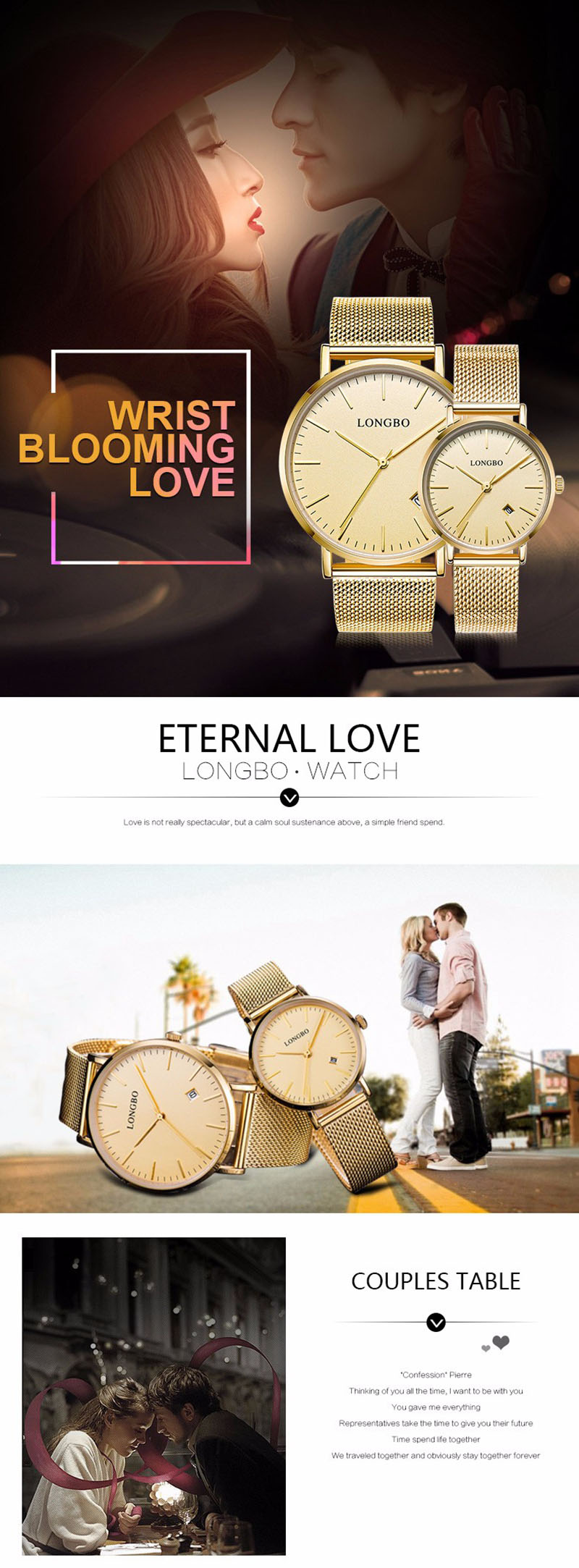 LONGBO 5009 Calendar Lovers Couple Watch Waterproof Alloy Case Fashion Simple Wrist Watch
