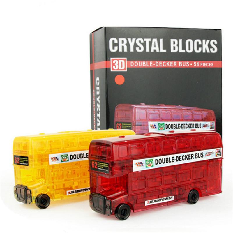 Creative IQ 3D Crystal Puzzle Jigsaw Blocks Assembling Bus Car Model DIY Toys
