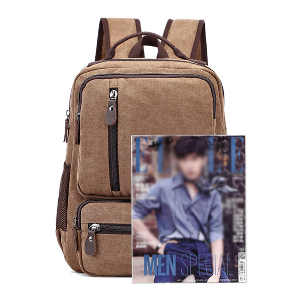 Men Fashion Canvas Outdoor Travel 16 Inch Laptop Backpack