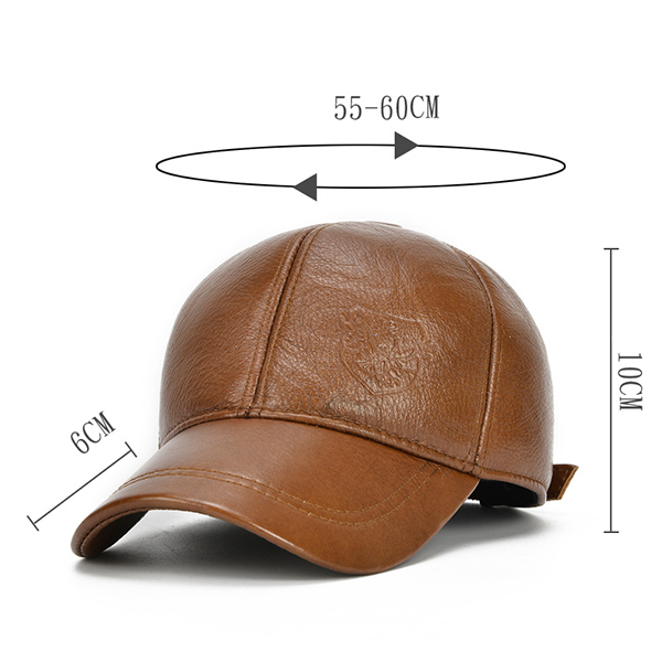Mens Cowhide Warm Earmuffs Baseball Cap