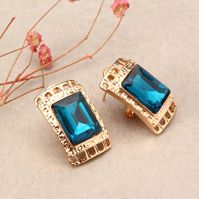 Blue Crystal Rectangular Hollow Necklace Earrings Ring Bracelet Jewelry Set