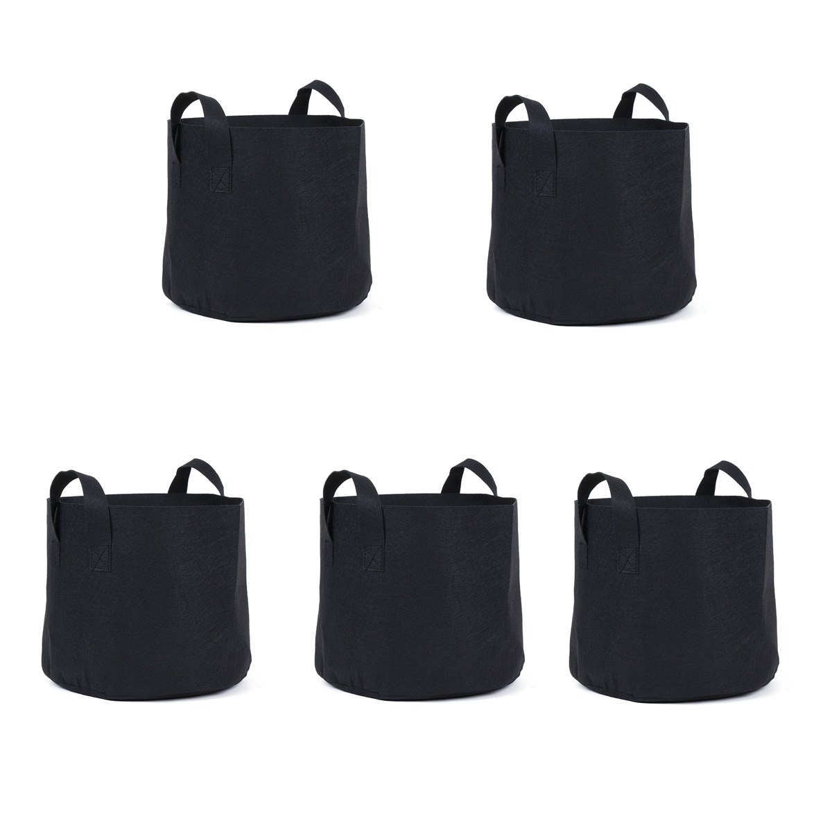 5pcs 5 Gallon Round Planter Grow Bag Plant Pouch Root Pots Container w/Handles