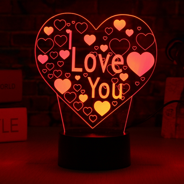 LED 3D Colorful I Love You Night Light USB Touch Switch Desktop Lamp Home Decor
