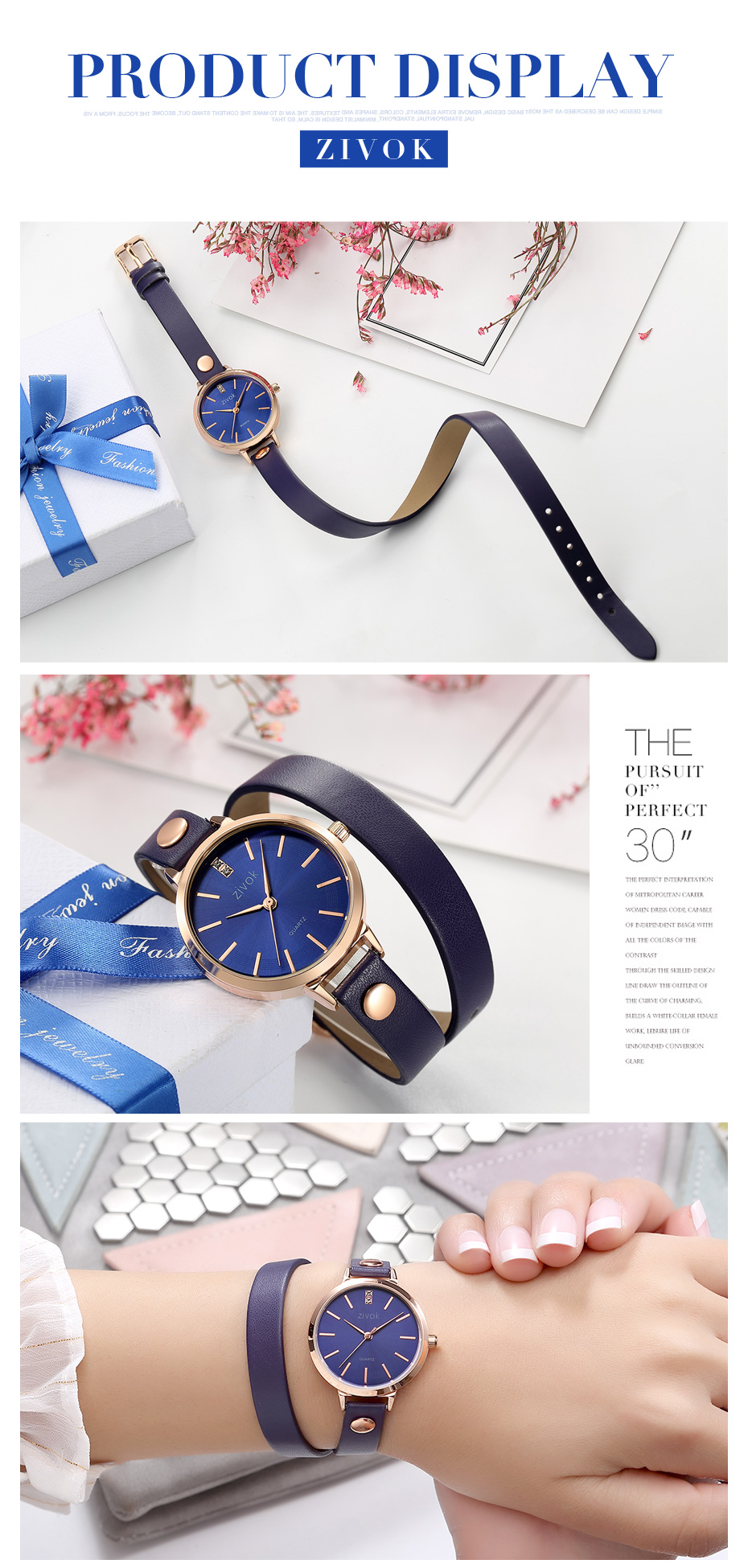 ZIVOK 8031 Rose Gold Case Casual Style Women Watches