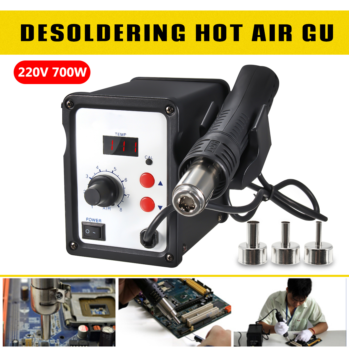 KAISI 858D Digital Display 220V 700W Soldering Station Rework Iron Desoldering Station