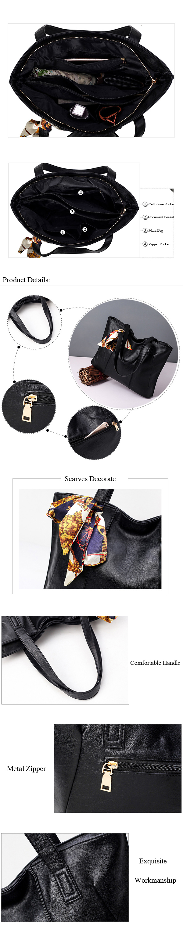 Women Classical Cowhide Scarves Decoration Handbag Casual Genuine Leather Hang Bag