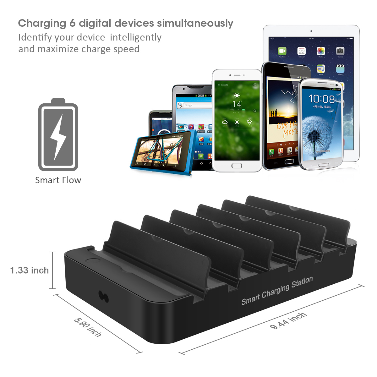 6-Port 60W USB Charger with QC 3.0 Smart IC Tech Fast Charger for iPhone 8/7/6s/Plus Samsung Xiaomi