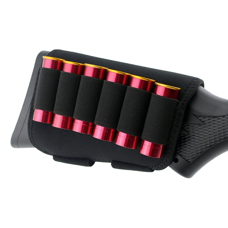 6 Rounds Reload Strip Shotgun Bullet Dump Pouch Holder Ammo Carrier Buttstock Cheek Bag For Hunting Gun Accessories