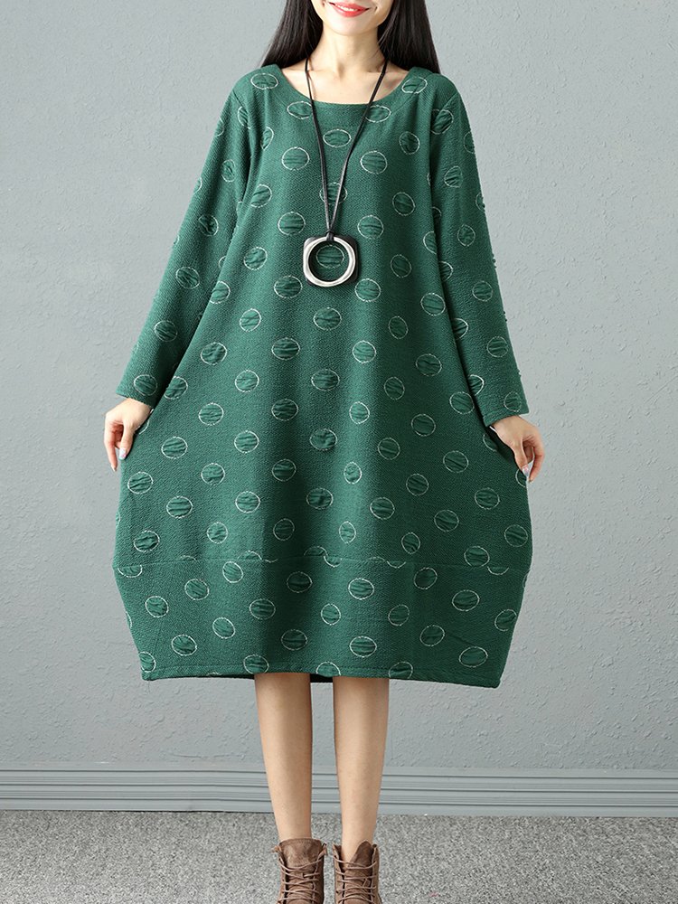 Casual Loose Jacquard Round Neck Long Sleeve Dresses